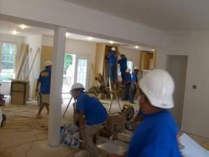 Hardwood crews installing